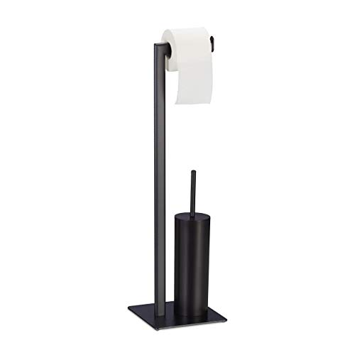 Relaxdays WC Garnitur mit Toilettenpapierhalter, Toilettenbürste & Bürstenhalter, stehend, 72,5 x 20 x 20 cm, schwarz