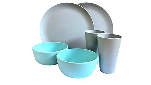 Juego de Vajilla de bambú 6 piezas Biodegradable y Libre de BPA. Para 2 Comensales. 2 Platos, 2 Cuencos de Sopa y 2 Vasos de Bebida. Eco-Friendly | Apto para Lavavajillas.