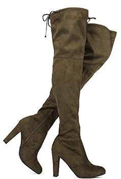 Premier Standard - Women s Over The Knee Boot - Sexy Over The Knee Pullon Boot - Trendy Low Block Heel Shoe - Comfortable Easy Heel Boot TPS Amaya-01 Olive Size 7.5