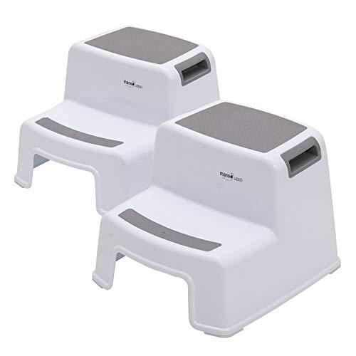 Zweistufiger Hocker Tritthocker für Kinder Kleinkind hocker für die Toilette Töpfchentraining Bad und Küche Rutschfester weicher Griff für Sicherheit Stapelbar (2er Pack grau)