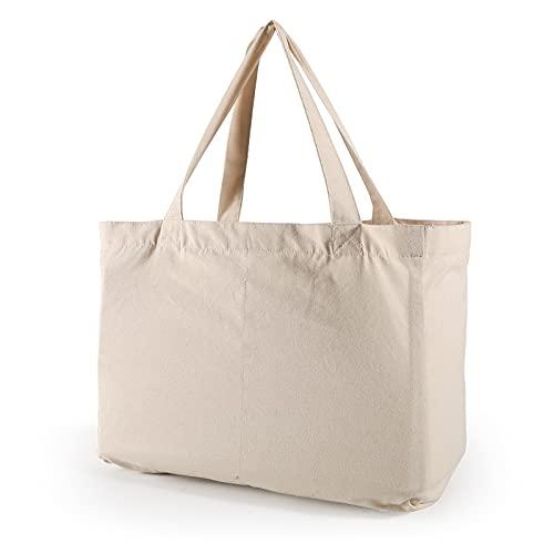 ZOVCO Bolsa para la compra de algodón de gran capacidad, plegable y ecológica, reutilizable, portátil, con 6 bolsillos separados, de algodón – 40 x 30 cm