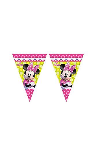 220cm Wimpelkette * DISNEY MINNIE MAUS * für Kindergeburtstag und Motto-Party // Mouse Girlande rosa Mädchen