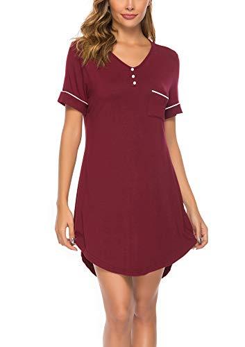 ABirdon Damen Nachthemd V-Ausschnitt Kurzarm Nachthemd T-Shirt Strandkleid S-XXL