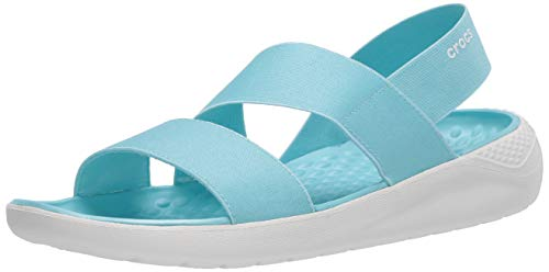 Crocs LiteRide Stretch Sandals for Women | Slip On Shoes, Ice Blue/Almost White, 4 M US