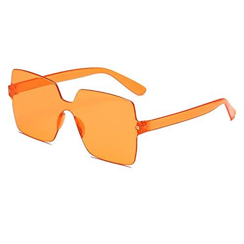 NJJX Gafas De Sol Punk Vintage Para Hombre Y Mujer, Gafas De Sol Sin Montura Con Montura Grande A La Moda, Gafas Transparentes Para Mujer, Naranja