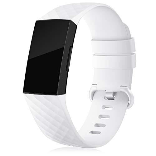RIOROO Compatible para Fitbit Charge 3 Correa Charge 4 Pulsera,Correa Deportiva para Mujer Hombre Recambio Band Silicona,Blanco