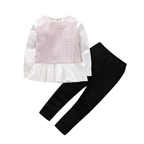 Alunsito Toddler Baby Girl Cute Kids Ruffle Hem Pullover Top + Solid Pants Set Infant Autunno Inverno Abbigliamento Abiti Rosa 80 18-24 mesi