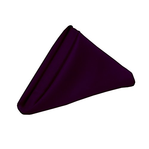 YCC Linen - 20 Inch Square Premium Polyester Cloth Napkins 10 Pack - Eggplant, Oversized, Double Folded and Hemmed Table Napkins for Restaurant, Bistro, Wedding, Thanksgiving and Christmas