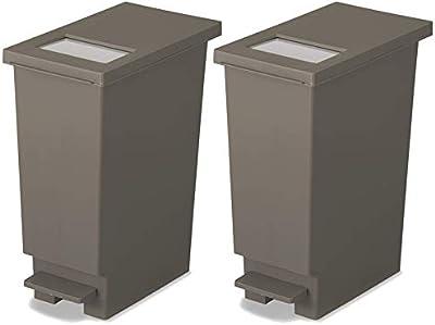 トンボ ゴミ箱 2個セット 20L 日本製 フタ付き プッシュタイプ ペダル式 ブラウン ユニード 新輝合成 20S