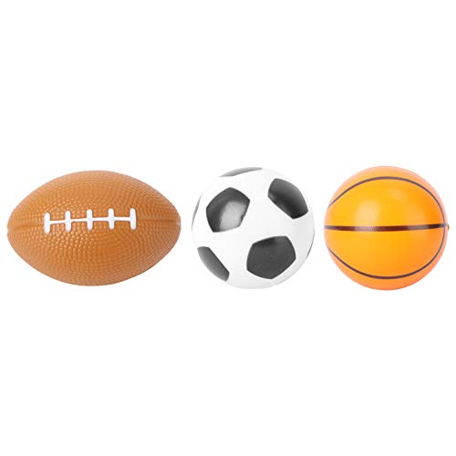 Amosfun 3 Stücke Mini Sportbälle Fußball Stress Ball Schaum Sportbälle für Kinder Super Bowl Dekoration (Fußball, Basketball, Rugby)