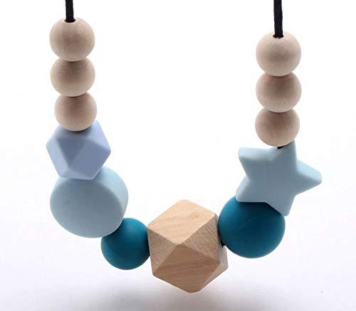 Collar para niños Collar de cuentas de madera de silicona Collar de dentición de silicona para bebés Bebé recién nacido Joyería de lactancia materna