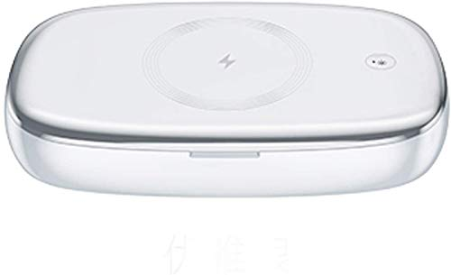 WJSW Multifunktionale UV-Sterilisationsbox, kabelloses Ladegerät für Mobiltelefone, Aromatherapie-Desinfektionsgerät für Brillenschmuck (Silber), 03