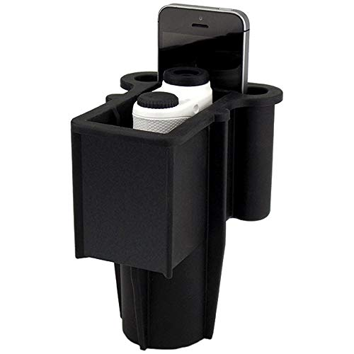 The Range Gripper for Golfers - an All-in-One Rangefinder/Smartphone Holder- Fits Any Golf Cart Cupholder, Secures & Protects Your Range Finder & Cell Phone - Never Lose Valuables Again, Black RGBLack