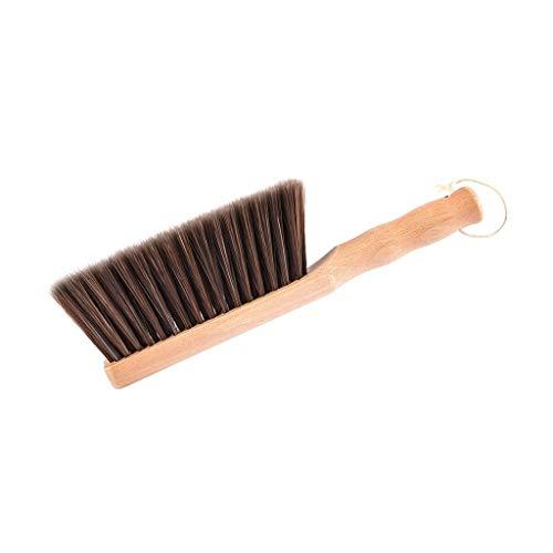 XMCF Counter Duster, Hand Brush Soft PET Brush Dust-removing Bed Brush Cleaning Brush Bed Broom Wood Handle Anti-static Brush - 7.9' Brush Length