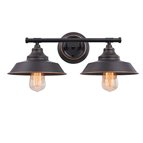 Wandlampe Vintage Wandleuchte E27 2-flammig Badezimmer Lampe Spiegelleuchte Badlampe Schwarz Metall...