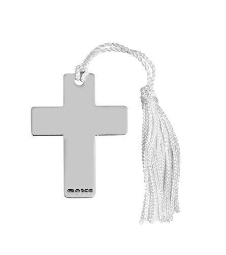 Segnalibro a croce in argento Sterling. Marchio di garanzia 925. Regalo perfetto per festeggiare un battesimo, battesimo o cresima.