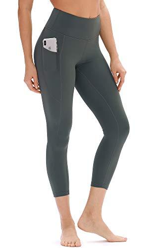 icyzone Damen Hohe Taille Sport Leggings Yoga Pants Sport Hose Jogginghose mit Tasche (M, Dunkelgrün)