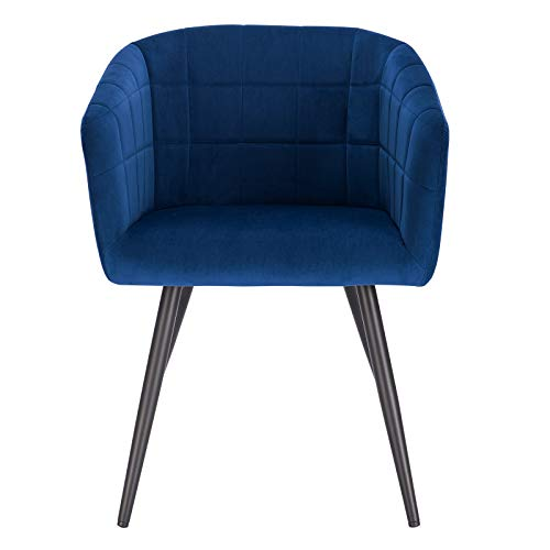 eSituro Blue Dining Chair Velvet Bed Chair Large Dressing Chair with Arm & Modern Coffee Chair Back and Black Legs Armchair Retro Tub Chair Corner