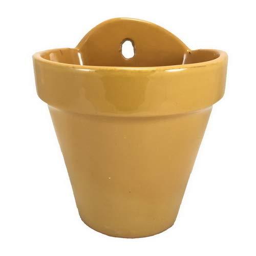 Maceta Colgar Pared Barro Esmalte Exterior (18 cms, Amarillo)