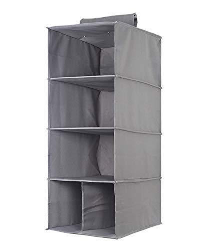 CHUTD Armario Colgante de Almacenamiento Plegable de algodón y Lino Armario estantes Colgantes organizadores con cajón para Ropa/Dormitorio, Gris, sin cajón