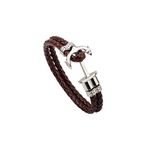 Pulsera de Cuero Negro con Ancla para Hombre o Mujer, Brazalete Premium con Cuerda de Vela y Ancla, Accesorio de Acero Inoxidable de Color Negro - Idea de Regalo - Joyero Exclusivo