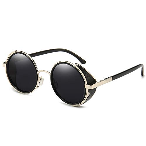 Dollger Steampunk Vintage Retro Round Sunglasses Metal Circle Frame (Black Lens+Silver Frame,100% UV Protection Lens)