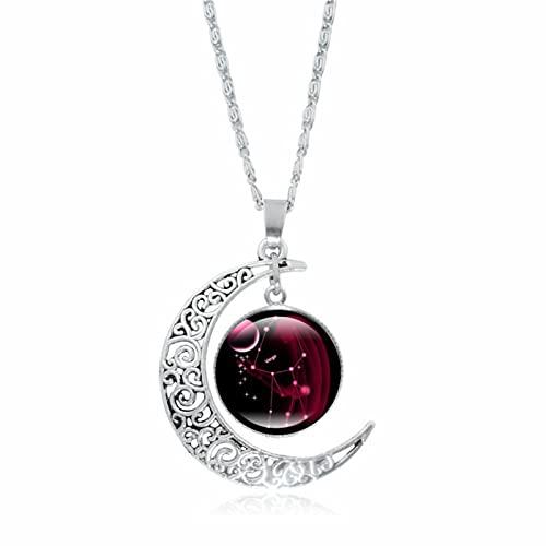 2021 de moda 12 Constellation Luna Galaxy Collar, encanto Bella Verano Primavera Otoño astrología Fortunado, para mujeres y niñas, regalo de cumpleaños, Virgo