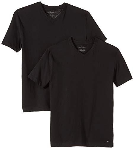 TOM TAILOR Herren Double Pack V-neck T Shirt, Black, M EU