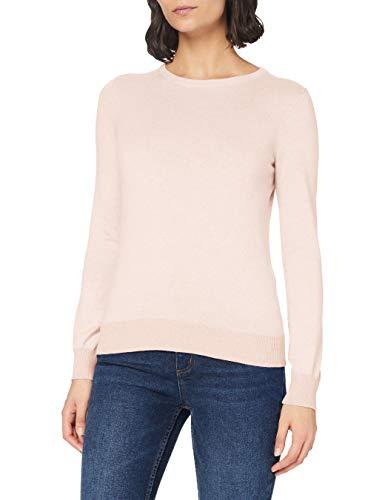 Marchio Amazon - MERAKI Pullover Cotone Donna Girocollo, Rosa (Pale Pink), 40, Label: XS