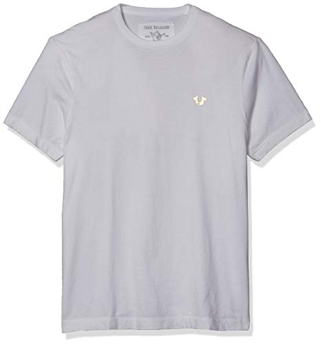 True Religion Men's Classic Metallic Gold Buddha Short Sleeve Crewneck Graphic Tee, Optic White, L