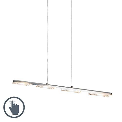 QAZQA Design/Modern Hängeleuchte Stahl/Silber/nickel matt mit Glasplatte inkl. LED mit Dimmer - Vitro/ 4-flammig Touch-funktion Dimmer/Dimmbar/Innenbeleuchtung/Wohnzimmerlampe/Schlafzimme
