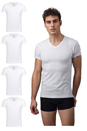 Burnell & Son Unterhemd Herren mit V-Ausschnitt 4er Pack - T-Shirt Extra Lang mit Kurzarm aus Baumwolle Basic Slim Fit Weiß Größe M