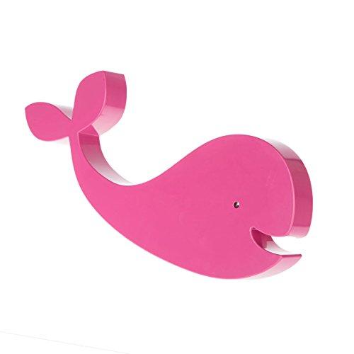 La lampada da parete Eddy è una lampada da parete / parete per la stanza dei bambini sotto forma di balena rosa con retroilluminazione a LED bianco caldo (effetto corona)