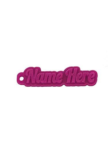 Portachiavi 3D in gomma, con nome personalizzabile, Gomma TPE., Rosa trasparente