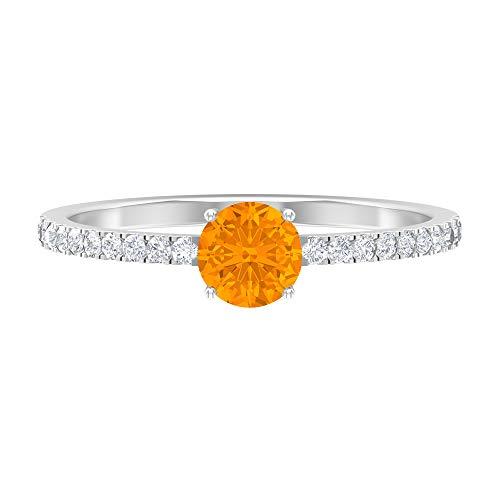 Anillo de boda vintage, anillo de compromiso solitario, 3/4 ct D-VSSI moissanite, anillo redondo de zafiro azul, joya de novia, regalo de aniversario, 14K White Gold, Blue Sapphire, Size:US 70