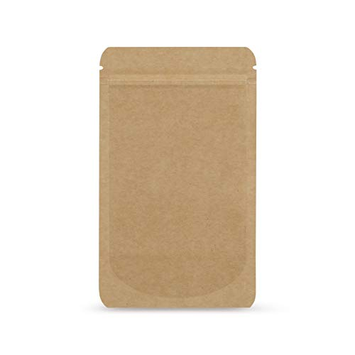 Elke-Plastic Standbodenbeutel Kraftpapier I 85 x 140 I 50 Stück I wiederverschließbare Beutel I Aromaschutzverpackung I Druckverschlussbeutel Lebensmittel I Schnellverschlussbeutel I Stehbeutel