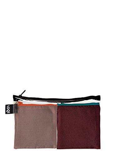 LOQI PURO Pocket – Einkaufstaschen Set, Reise-Henkeltaschen, Sepia und Sangria