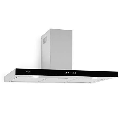 Klarstein Darya extractor de humos de pared - Clase A, 90 cm, extracción de 310 m³/h, 2 filtros de grasa de aluminio, 66 dB, acero inoxidable, frontal negro de vidrio acrílico, ventilación, plateado