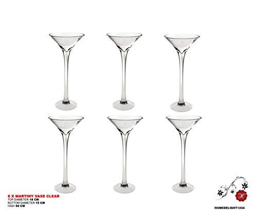 Homedelight 6x 50cm Martini Glas Vase Tisch Mittelpunkt Hochzeit Dekorationen