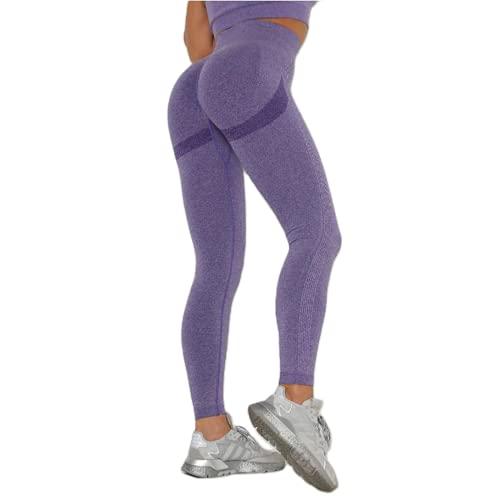 Leggings sin Costuras de Cintura Alta Push up Sexy Deportes Fitness Correr Pantalones de Yoga Pantalones elásticos de energía Leggings de Gimnasio I S