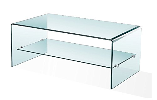 Stylish 12mm Curved Glass Coffee Table with Shelf | Modern Minimalist Tempered Bent Glass Low Living Room Occasional Table | 120 x 40 cm | Luna by Modern Furniture Direct