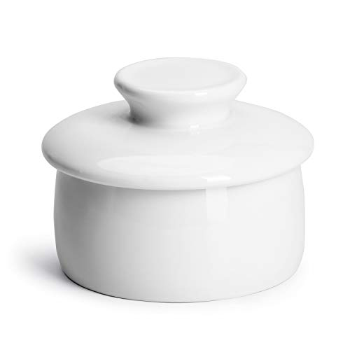 Sweese 317.101 Butter Crock Keeper with Water Line, French Butter Dish - Holds Up to 4oz East and West Coast Butter - Perfect Spreadable - Porcelain, White