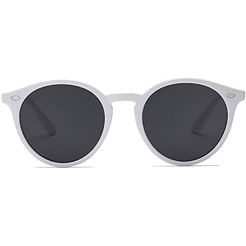 SOJOS Classici Occhiali da Sole Rotondi Polarizzati con Rivetti Lente a Specchio UV400 SJ2069 ALL ME con Bianco Telaio/Grigio Lente con Rivetti