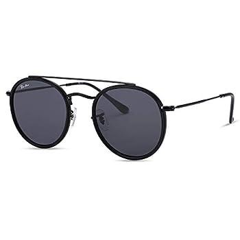 Pro Acme 100% Real Glass Lens Small Double Bridge Round Sunglasses for Women Men  Black/Black