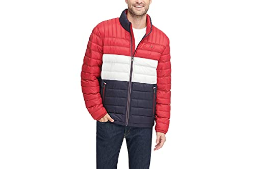 Tommy Hilfiger Men's Ultra Loft Lightweight Packable Puffer Jacket (Standard and Big & Tall), Midnight/White/red, X-Large