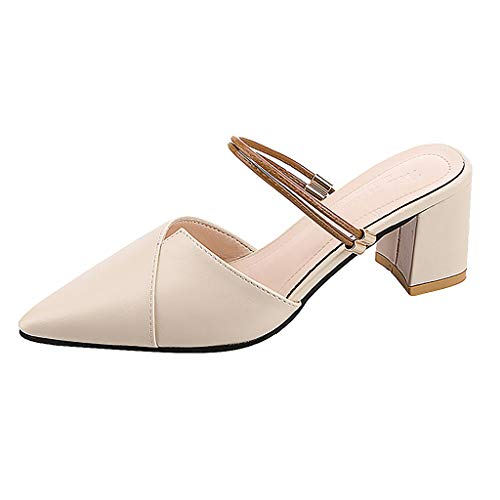 Tohole Damen Pumps Blockabsatz Pointed Toe Sandalen Damen Elegant Spitz Zehe Schuhe Leder Sandalen Mit Blockabsatz Vintage Römische Schuhe(beige,34 EU)