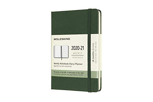 Moleskine - Agenda Settimanale 18 Mesi, Agenda Tascabile 2020 2021, Weekly Notebook con Copertina Rigida e Chiusura ad Elastico, Formato POCKET 9 x 14 cm, Colore Verde Mirto, 208 Pagine