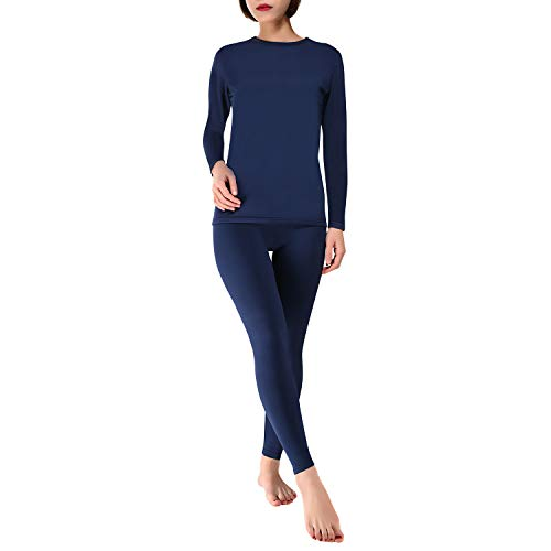 wishpower Women's Thermal Underwear Sets Long Johns Base Layer Top & Bottom 2 Piece Set Navy Blue XXL