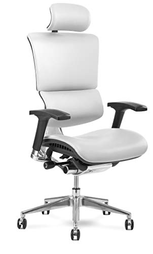 X Chair Office Desk Chair (X4 White Leather with Headrest) Ergonomic Lumbar Support Task Chair Breathable Mesh, Adjustable Arms, Executive, Drafting, Gaming Computer Home or Office Chair