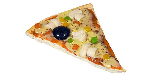 ERRO Pizza Stück Champignon Olive - Attrappe, Bühenrequisite, Fake Food Pizzastück, Pizzaattrappe als Partygag